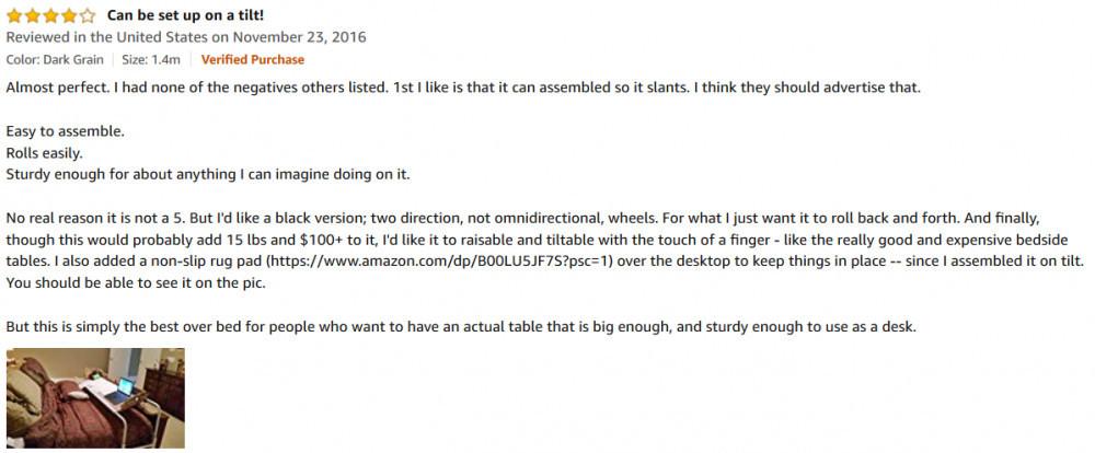 Unku Overbed Desk Customer Review 2